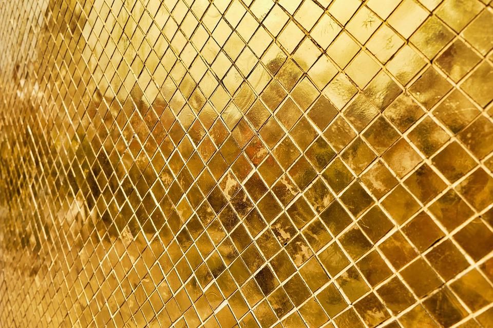 Gold, Wall, Background, Pattern, Design, Golden