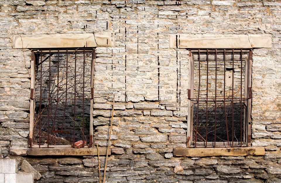 Wall, Old, Brick, Wood, Stone, Rustic, Bars
