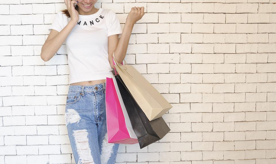 People, Girl, Standing, Talking, Phone, Wall, Shopping