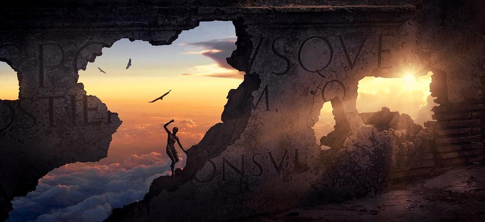 Fantasy, Wall, Building, Ruin, Stone, Light, Human