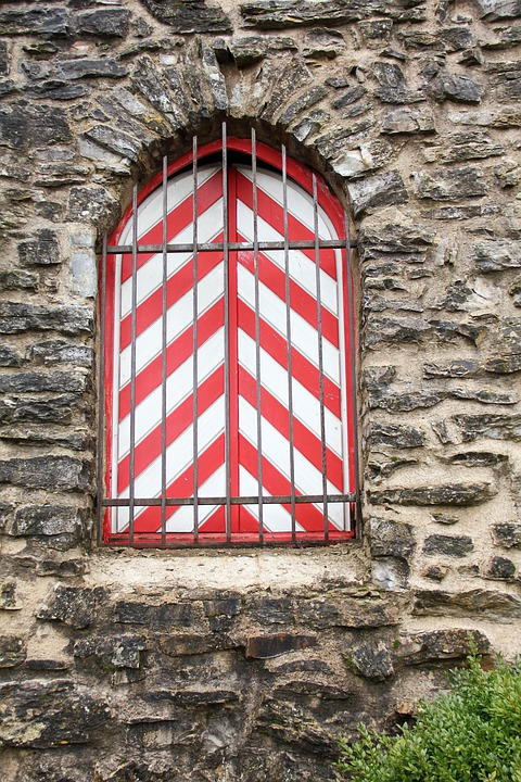 Window, Castle, Wall, Stripes, Red White, Grid