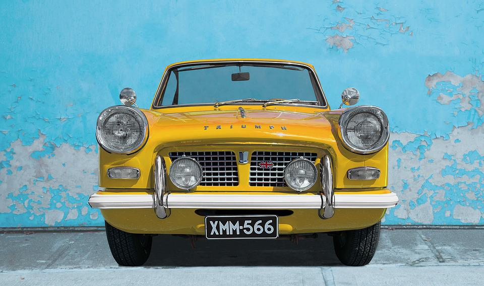 Triumph, Car, Yellow, Wall, Old Car, Transportation