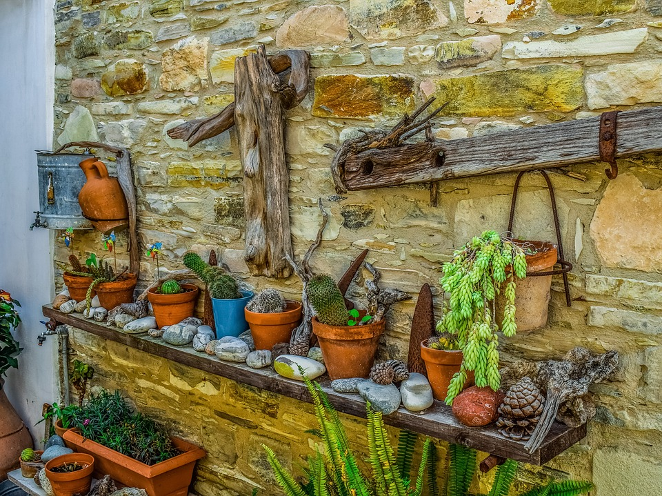 Wall, Yard, Traditional, Pottery, Flower Pot