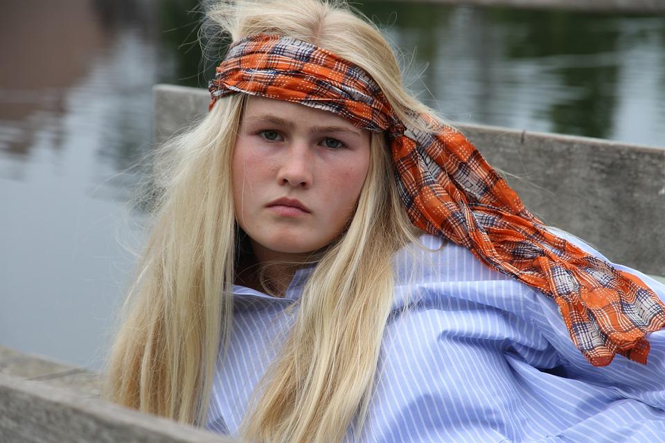 Young Girl, Bohemian, Blonde, Wall, Fashion, Water