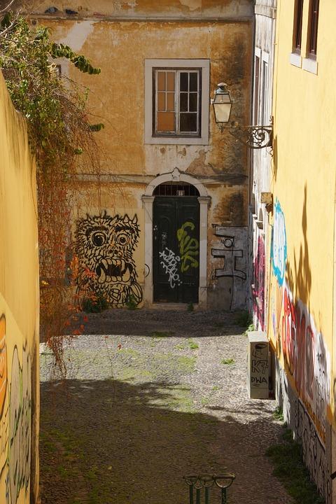 Graffiti, Urban, Alley, Walls, Buildings, Street, City