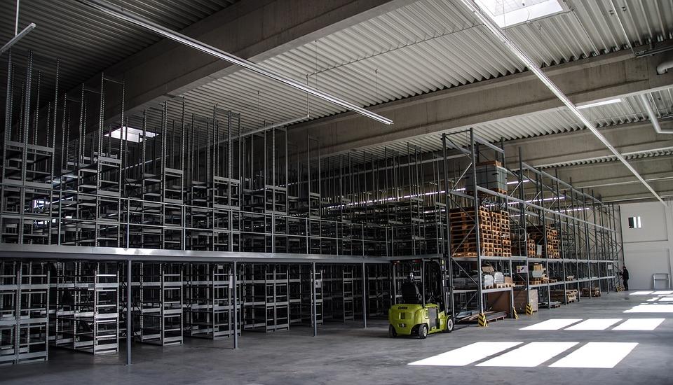 Warehouse, Shelves, High Bay, Steel, Metal, Industry