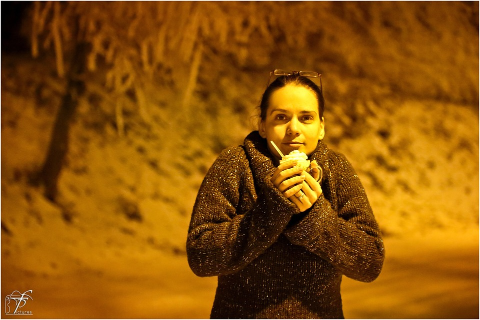 Girl, Cold, Night, Winter, Coffee, Cup, Drink, Warming