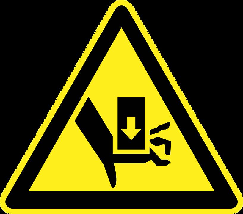 Injury, Finger, Hand, Danger, Warning, Yellow, Sign