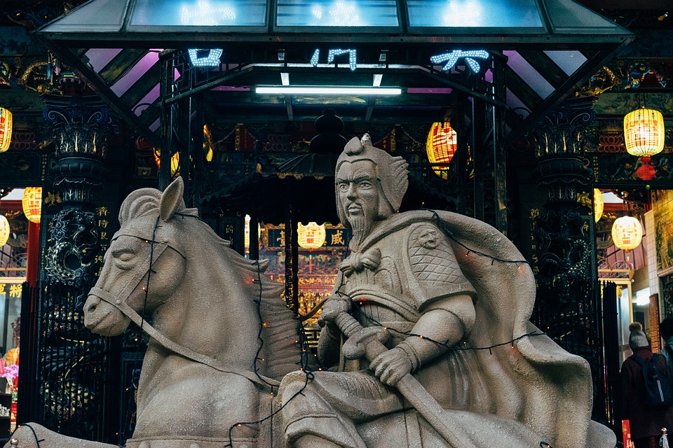 Statue, Temple, Warrior, Asia, Taiwan, China, Taiwanese