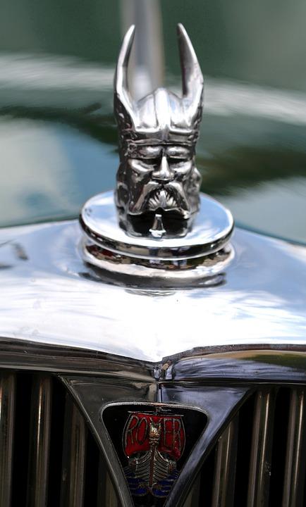 Hood Ornament, Rover, Viking, Helmet, Antique, Warrior