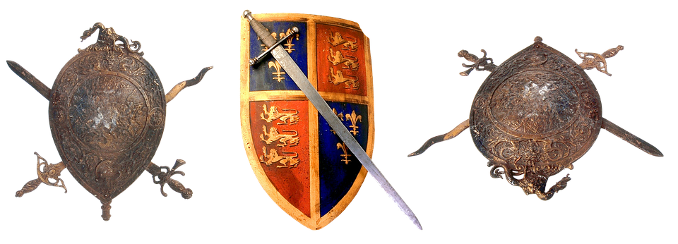 Sword, Shield, Coat Of Arms, Warrior, War