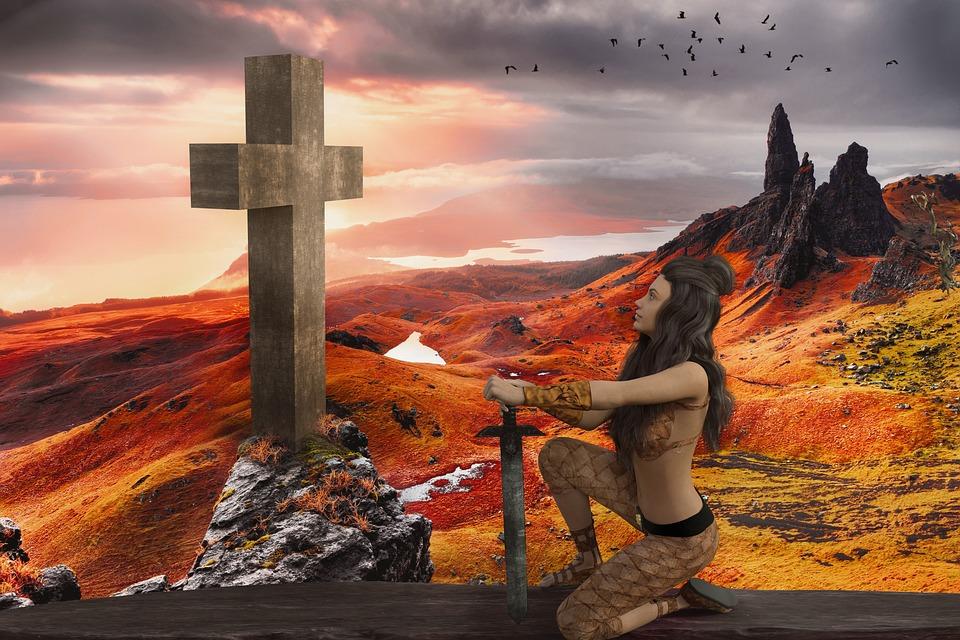 Fighter, Woman, Warrior, Sword, Cross, Faith, Sunset