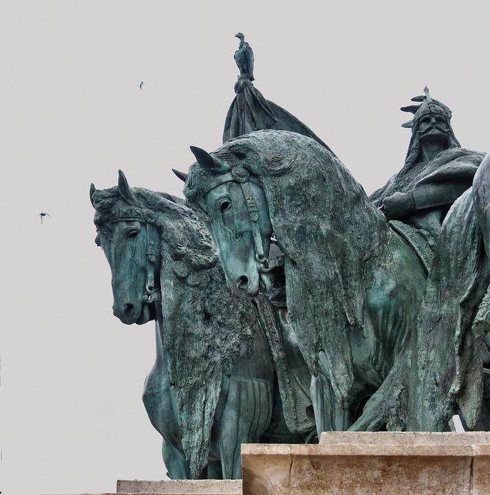 Horses, Bronze, Statue, Warriors, Antique