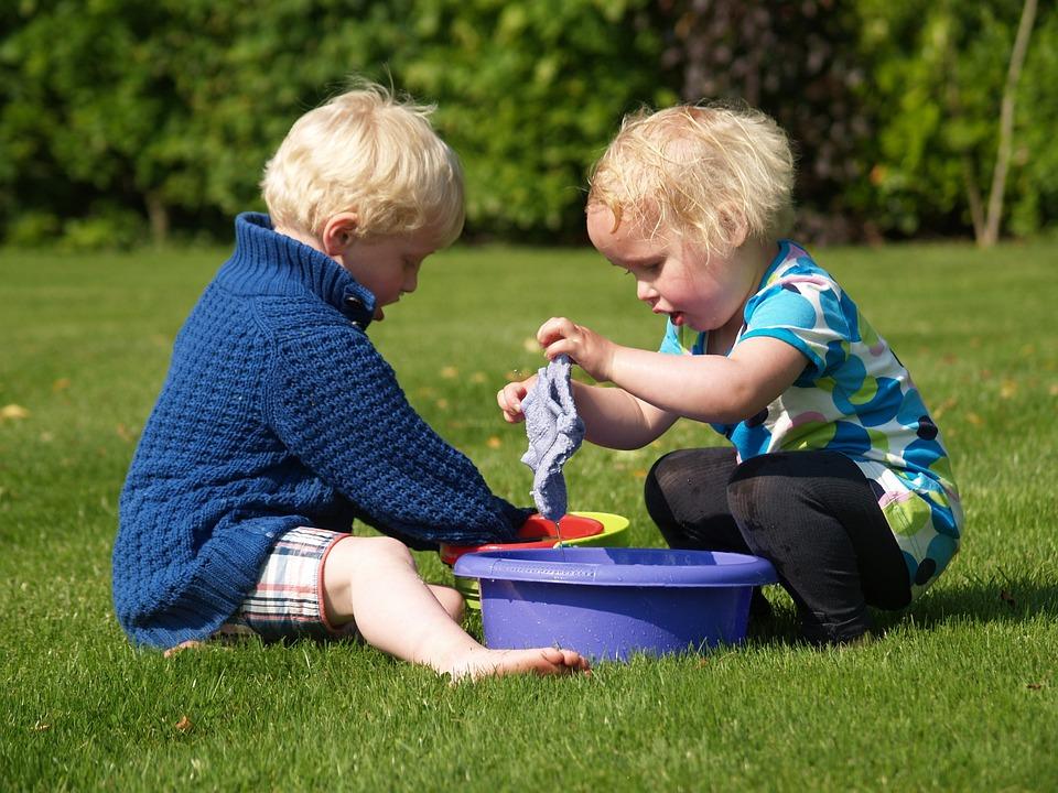 Children, Play, Washcloth, Basin, Bowl, Washing-up Bowl