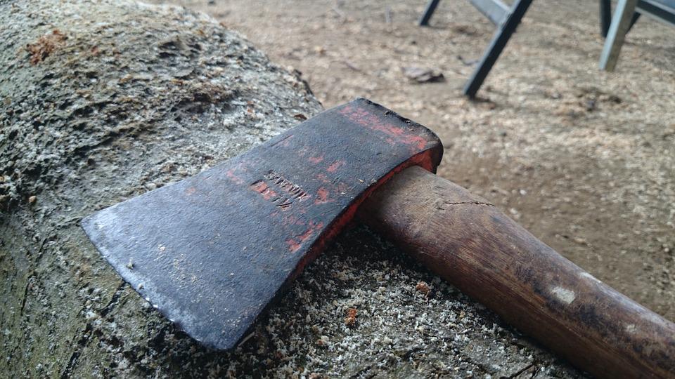Axe, Trunk, Carpentry, Waste, Sawdust