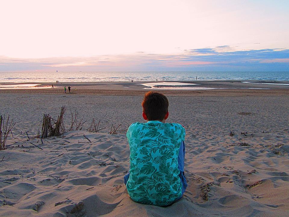 Boy, Teen, Watch, Sea, Waves, Beach, Summer, Sun