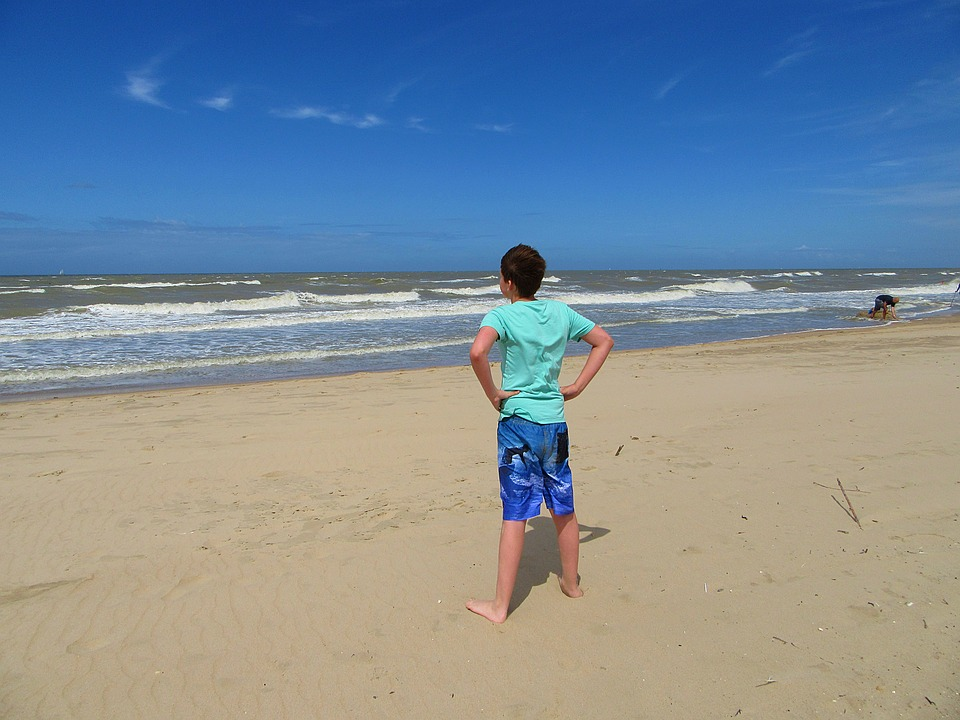 Boy, Sea, Beach, Sand, Wind, Child, Waves, Blue, Watch