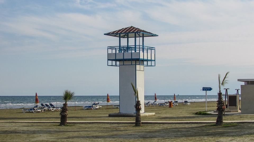 Cyprus, Larnaca, Beach, Lifeguard, Watching, Tower