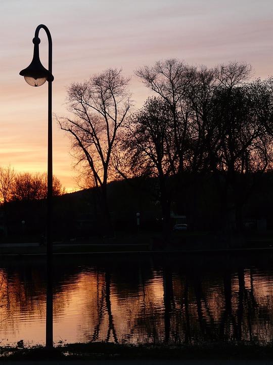 Lantern, Abendstimmung, River, Trees, Water, Sunset