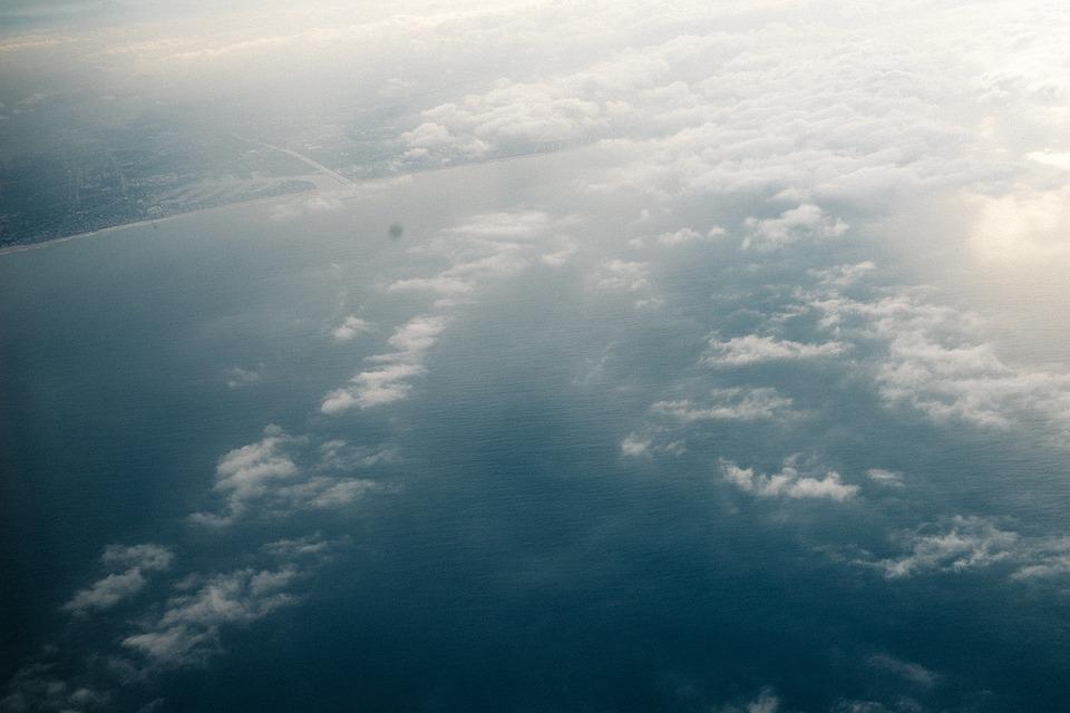 Aerial, Water, Ocean, Clouds, Sunshine