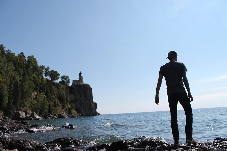 People, Guy, Alone, Coast, Wave, Sea, Ocean, Water