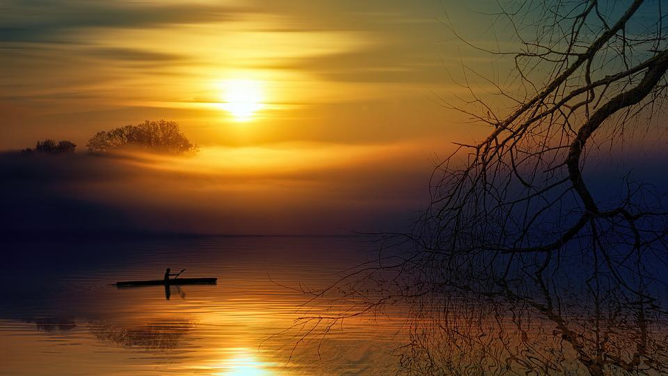 Water, Lake, Boot, Landscape, Sun, Fog, Autumn, Forest