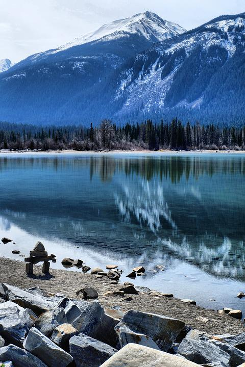 Lake, Water, Nature, Rock, Alberta, Banff, Travel