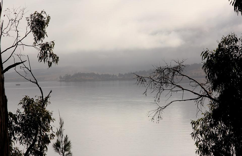 Fog, Coast, Bank, Water, Clouds, Rain, Lake