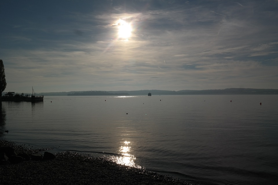 Lake Constance, Water, Bank, Sunset