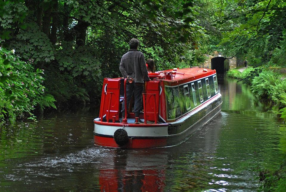 Barge, Canal, Bridge, Water, Travel, Waterway
