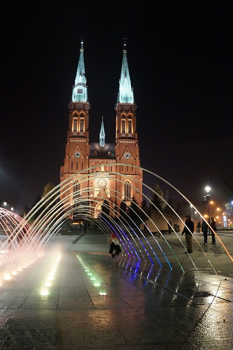 Fountain, Water, Illuminated, Basilica, Church, Rybnik