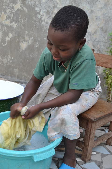 Wash, Child, Laundry, Hands, Basin, Water, Young, Happy