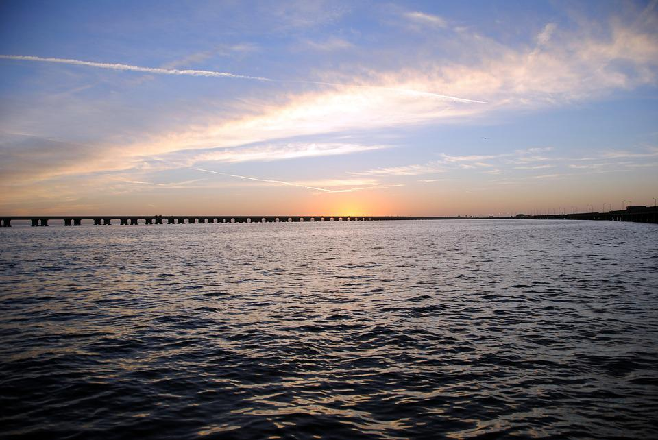 Sunrise, Tampa Bay, Bridge, Water, Bay, Salt Water
