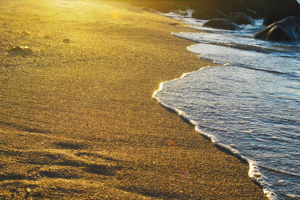 Seashore, Beach, Water, Sea, Sand, Golden, Sunset