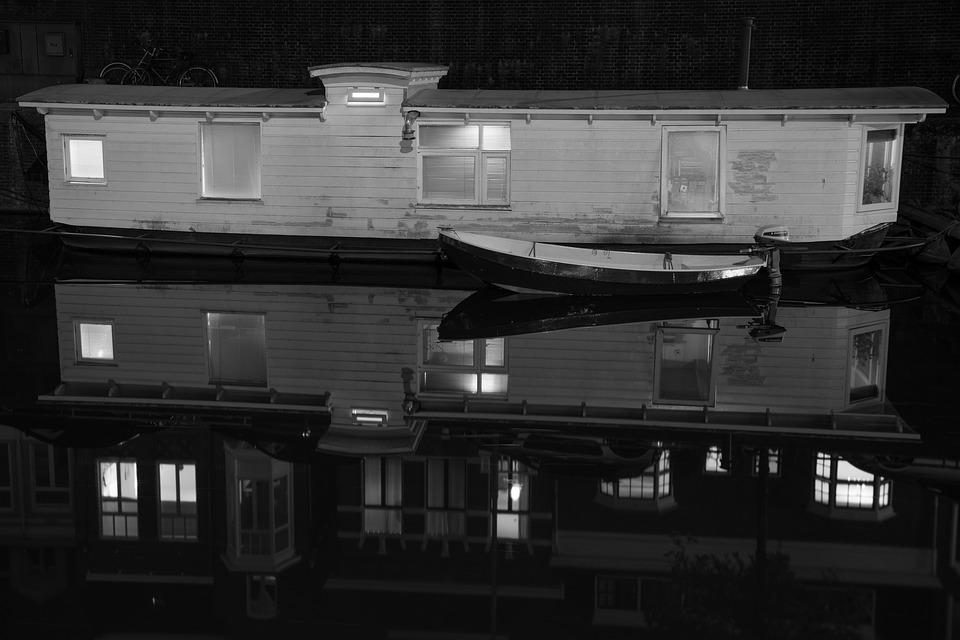 Water, Reflection, Black And White, Boat, House Boat