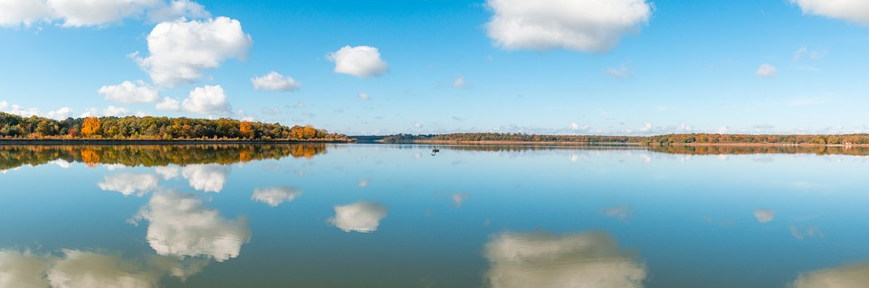Mirroring, Water, Perfect, Autumn, Clouds, Blue