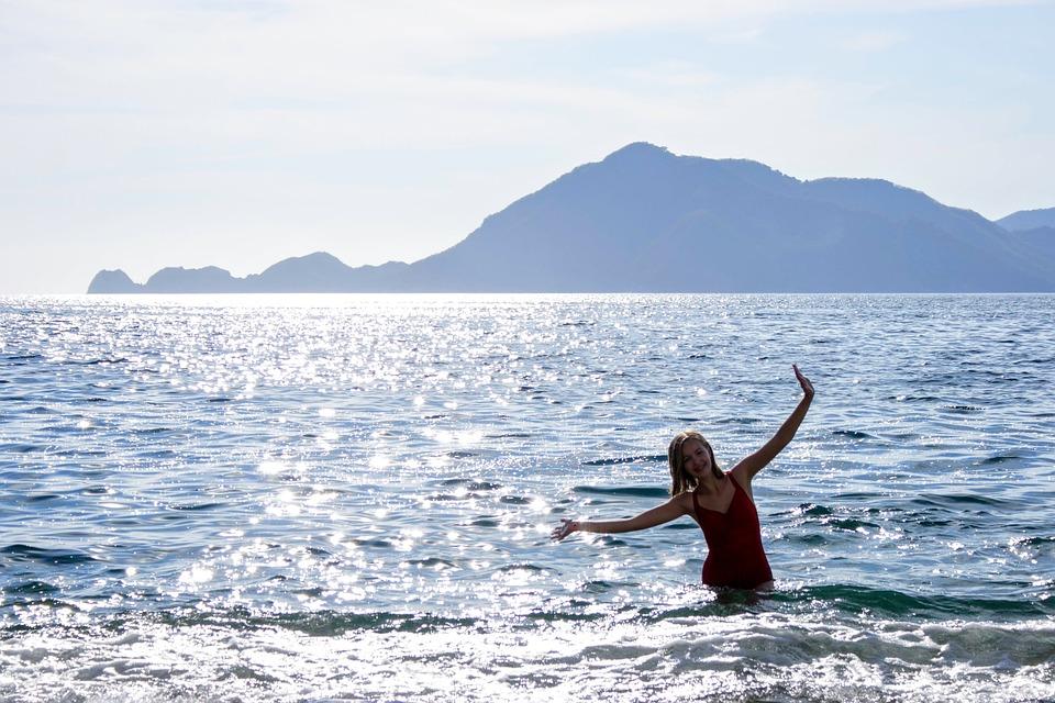 Beach, Mountain, Water, Silhouette, Girl, Waves, Blue