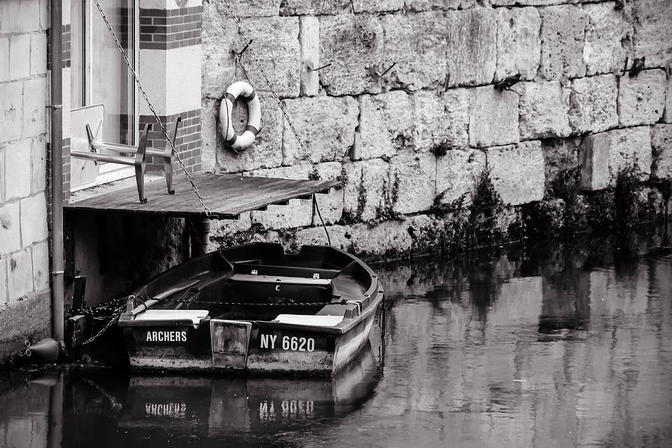 Boat, River, Terrace, Water, Black-and-white, City