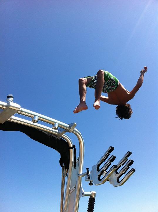 Salto, Jump, Boy, Fun, Boat, Diving, Recreation, Water