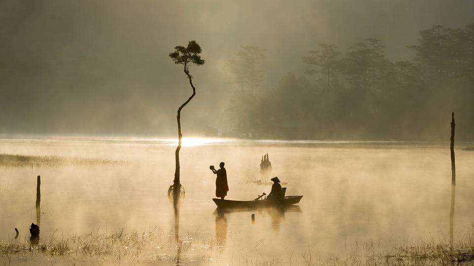 Lake, Asia, Boat, Outdoor, Sunny, Water, People