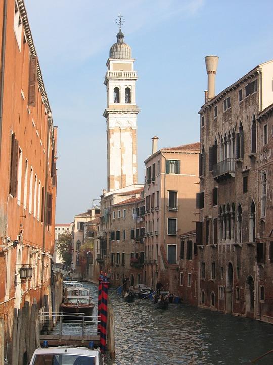 Venice, Bowever, Row Of Houses, Water, Gondolas, Tower