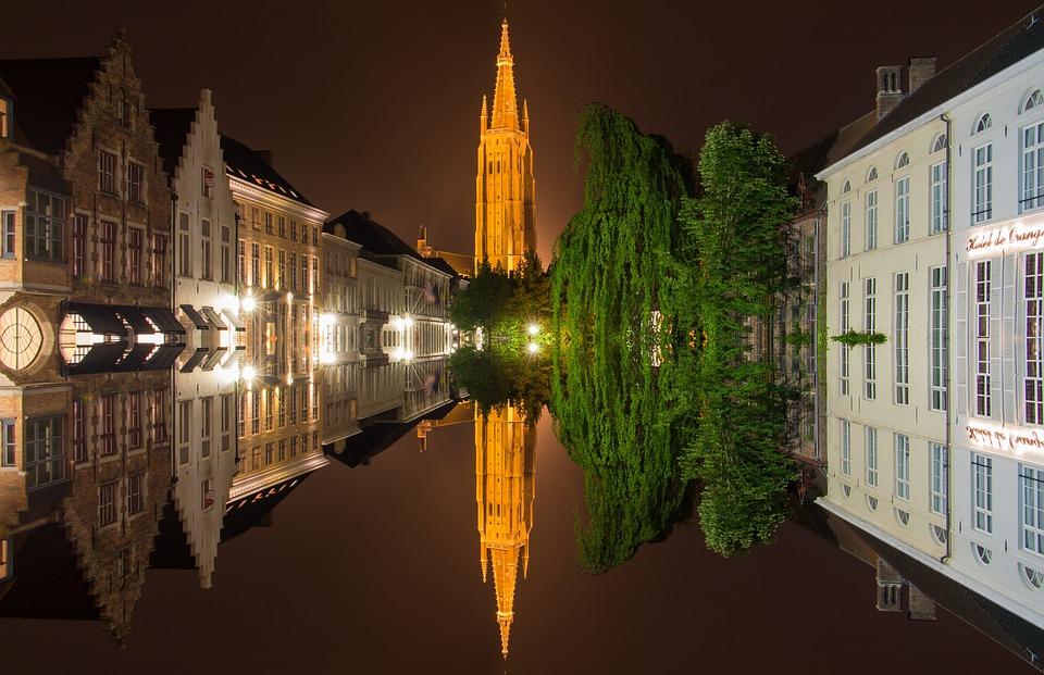 Bruges, Belgium, Mirroring, Old Town, Water, Quarries