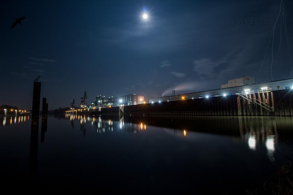 Port, Night, Moon, City, Skyline, Water, Building