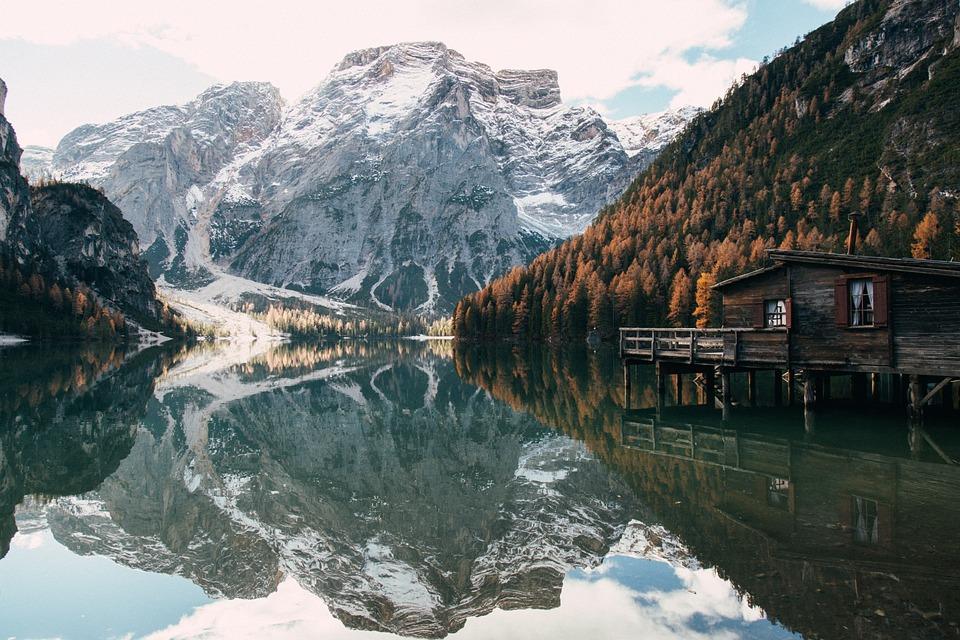 Lake, Cabin, Mountains, Reflection, Water, Snow