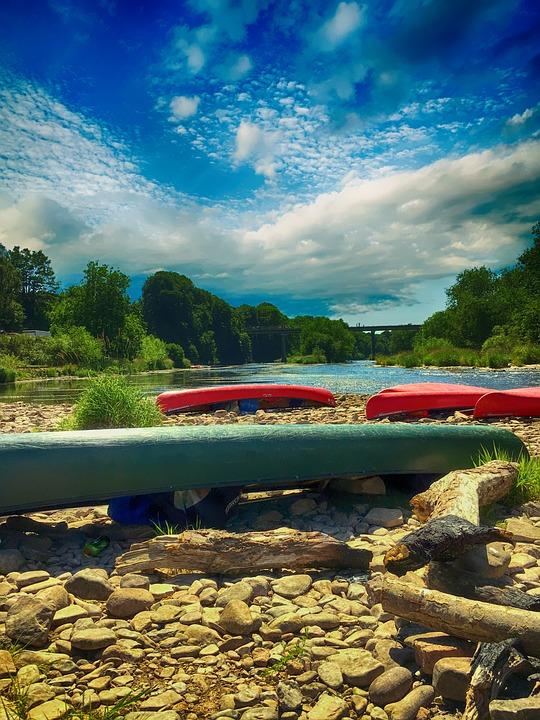 River, Canoe, Landscape, Summer, Water, Outdoors