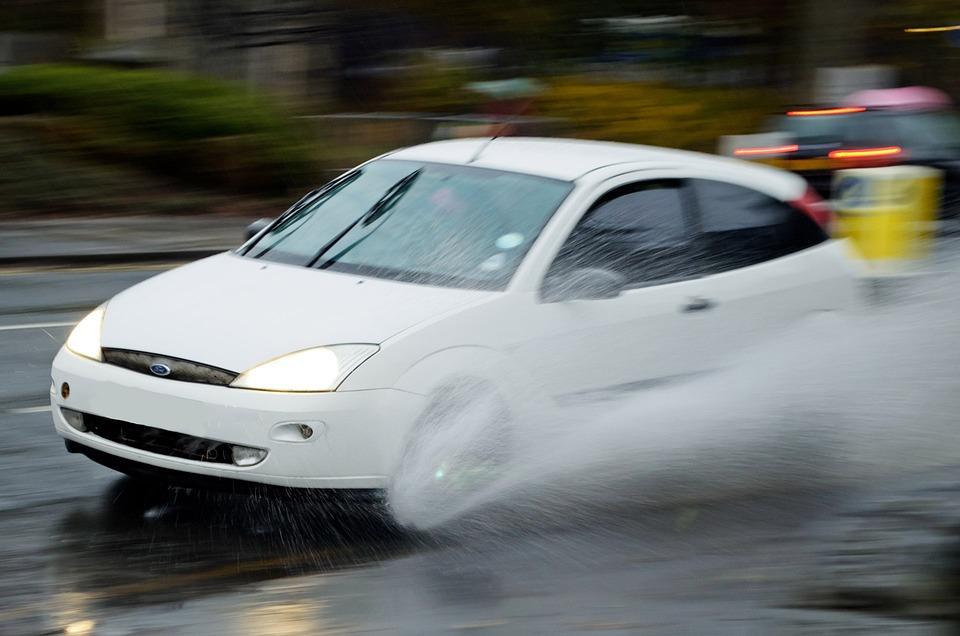 Aquaplaning, Water, Rain, Car, Driving, Driver, Fast