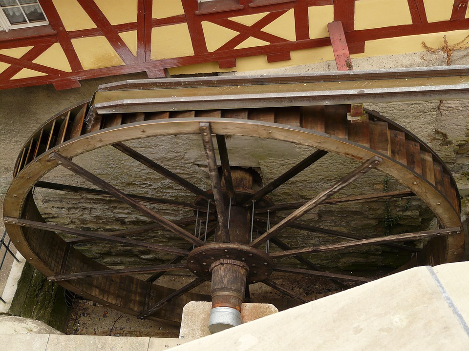 Mill Wheel, Water, Castle Mill, Meersburg, Waterwheel