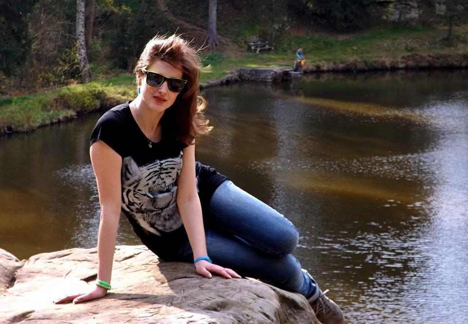 Girl, Peace, Model, Stone, Water, Pond, Bank, Character