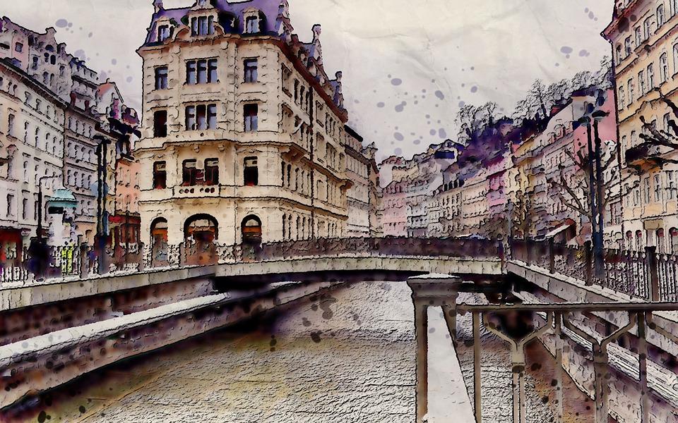 Structure, City, Bridge, Water, Digital, Art