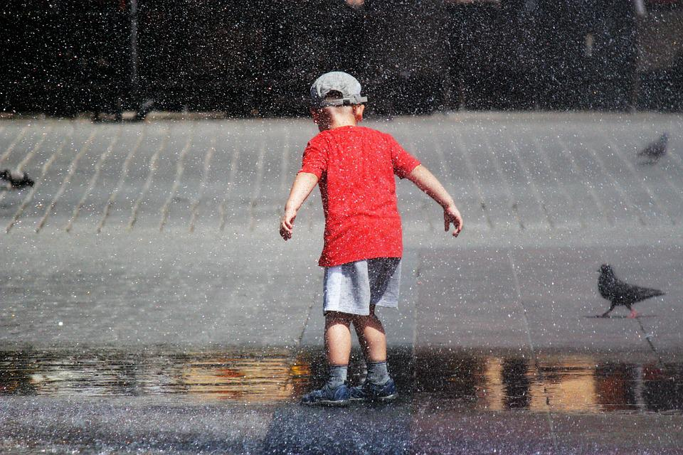 Water, Child, Game, Piazza, Pigeons, Summer, City